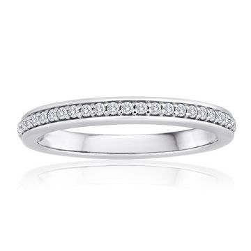 14K White Gold Imagine Bridal One Row Pave Diamond Band
