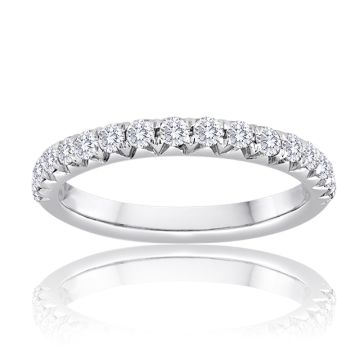 14K White Gold Image Bridal Diamond French Set Band