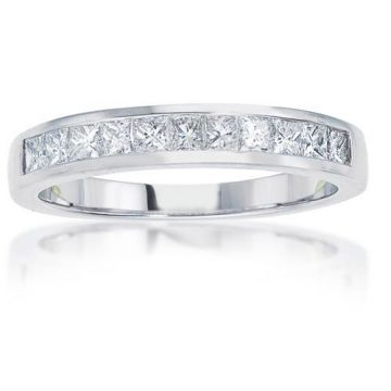 14K White Gold Imagine Bridal Princess Cut Diamond Anniversary Band