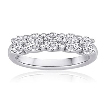 14K White Gold Imagine Bridal Five Stone Round Diamond Band