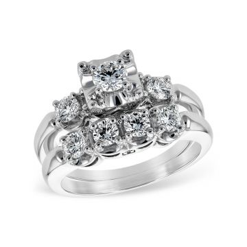 Allison Kaufman 14k White Gold Straight Bridal Set