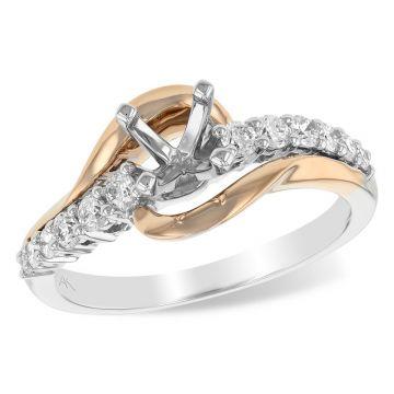 Allison Kaufman Two Tone 14k Gold Diamond Bypass Semi-Mount Engagement Ring