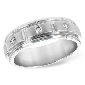 Allison Kaufman 14k White Gold Diamond Men's Wedding Band