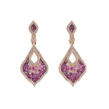 Allison Kaufman 14k Rose Gold Gemstone & Diamond Drop Earrings