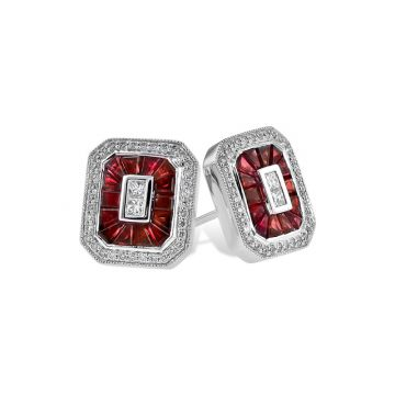 Allison Kaufman 14k White Gold Gemstone & Diamond Stud Earrings