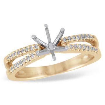 Allison Kaufman 14k Rose Gold Diamond Split Shank Semi-Mount Engagement Ring