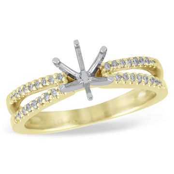 Allison Kaufman 14k Yellow Gold Diamond Split Shank Semi-Mount Engagement Ring