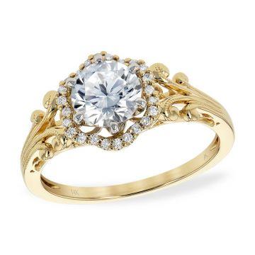 Allison Kaufman 14k Yellow Gold Diamond Vintage Semi-Mount Engagement Ring