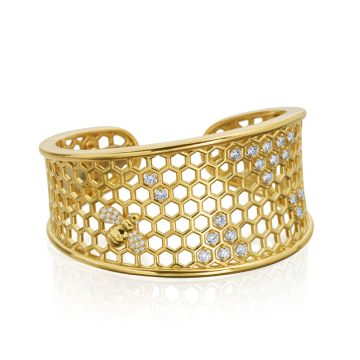 "Gumuchian Honeybee ""B"" 18k Yellow Gold Cuff Bracelet"