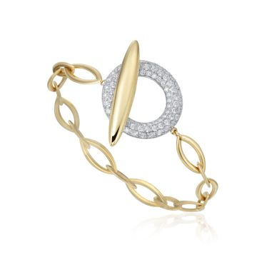 Gumuchian Anitia G 18k Two Tone Gold Toggle Diamond Bracelet