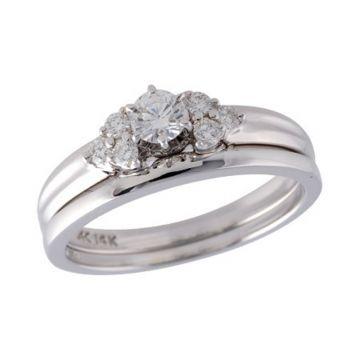 Allison Kaufman 14k White Gold Diamond Straight Bridal Set