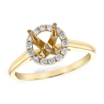 Allison Kaufman 14k Yellow Gold Diamond Halo Semi-Mount Engagement Ring