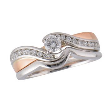 Allison Kaufman Two Tone 14k Gold Diamond Bypass Bridal Set