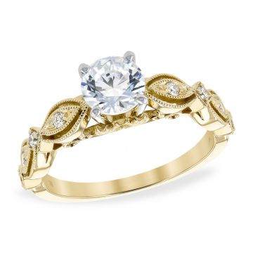 Allison Kaufman 14k Yellow Gold Diamond Vintage Semi-Mount Engagement Ring