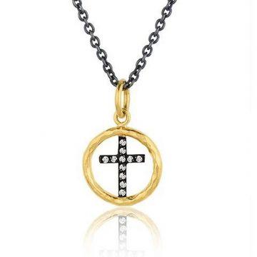 Lika Behar 24k Two Tone Gold and Sterling Silver Diamond Pendant