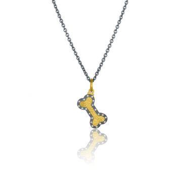 Lika Behar 24k Yellow Gold & Oxidized Sterling Silver Diamond Pendant