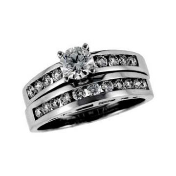 Allison Kaufman 14k White Gold Diamond Straight Bridal Set
