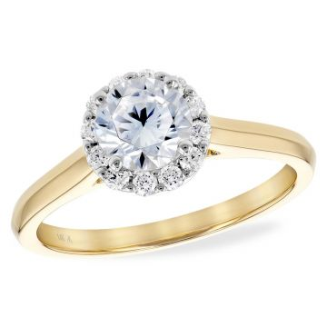 Allison Kaufman Two Tone 14k Gold Diamond Halo Semi-Mount Engagement Ring