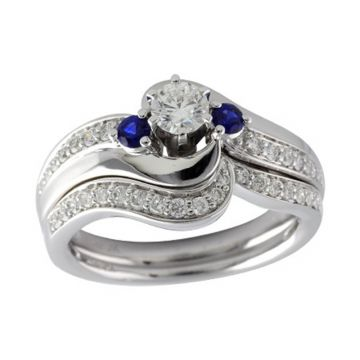 Allison Kaufman 14k White Gold Diamond and Gemstone 3 Stone Bridal Set