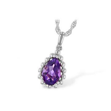 Allison Kaufman 14k White Gold Gemstone Necklace