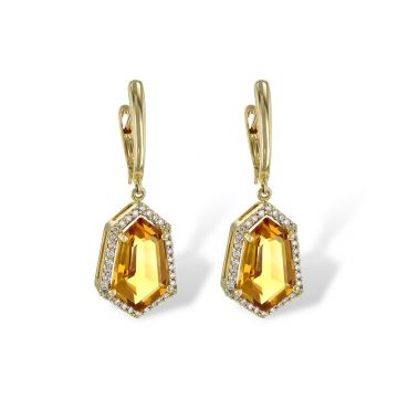 Allison Kaufman 14k Yellow Gold Gemstone & Diamond Drop Earrings