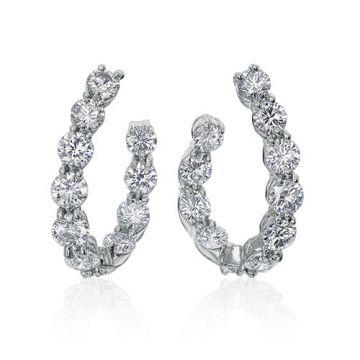 Gumuchian New Moon Platinum Diamond Hoop Earrings