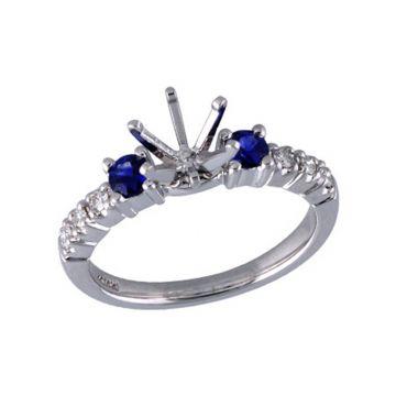 Allison Kaufman 14k White Gold Gemstone & Diamond 3 Stone Semi-Mount Engagement Ring