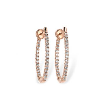 Allison Kaufman 14k Rose Gold Diamond Hoop Earrings