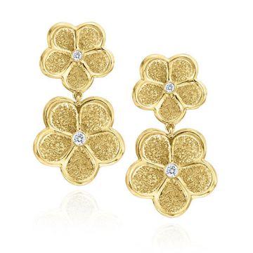 Gumuchian G. Boutique 18k Yellow Gold Diamond Daisy Drop Earrings