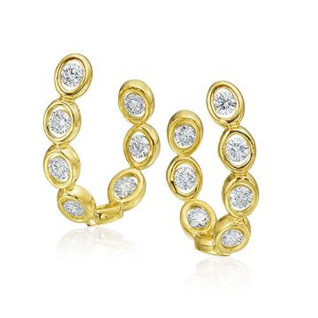 Gumuchian Oasis 18k Yellow Gold Illusion Diamond Hoop Earrings