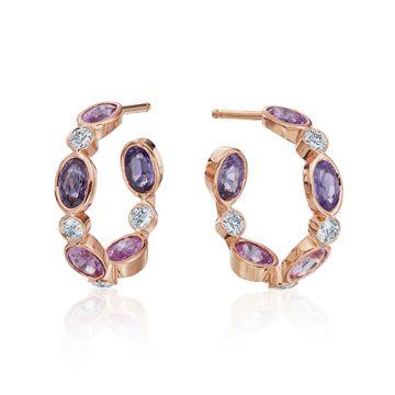 Gumuchian Marbella 18k Rose Gold Diamond Sapphire Hoop Earrings