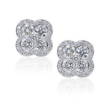 Gumuchian Fleur Platinum Diamond Stud Earrings