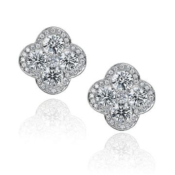 Gumuchian Fleur 18k White Gold Diamond Stud Earrings