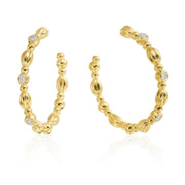 Gumuchian Nutmeg 18k Gold Diamond Hoop Earrings