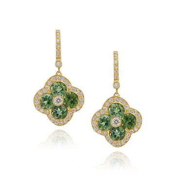 Gumuchian Fleur 18k Yellow Gold Tourmaline & Diamond Leverback Earrings