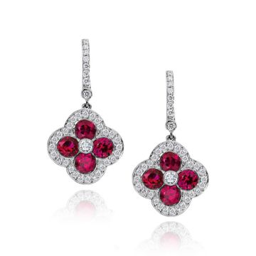 Gumuchian Fleur 18k White Gold Ruby & Diamond Leverback Earrings