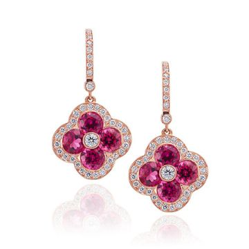 Gumuchian Fleur 18k Rose Gold Diamond Rubelite Drop Earrings
