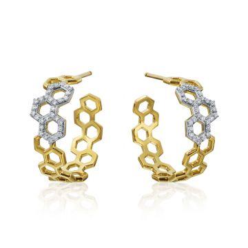 """Gumuchian Honeybee """"B"""" Two Tone 18k Gold Diamond Hoop Earrings"""
