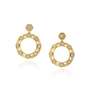 """Gumuchian Honeybee """"B"""" 18k Yellow Gold Drop Earrings"""