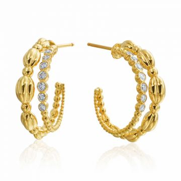 Gumuchian Nutmeg 18k Gold Diamond Double Hoop Earrings