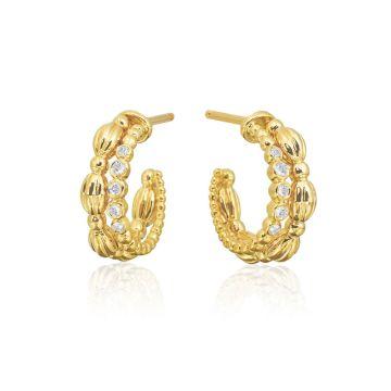 Gumuchian Nutmeg 18k Gold Small Diamond Double Hoop Earrings