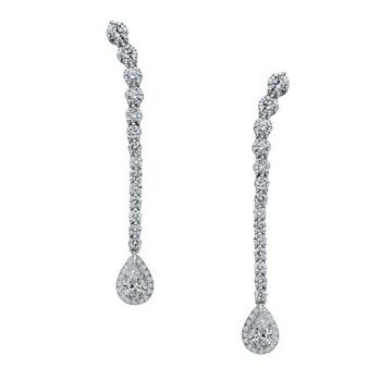 Gumuchian Cascade Riviera Platinum Diamond Pear Drop Earrings