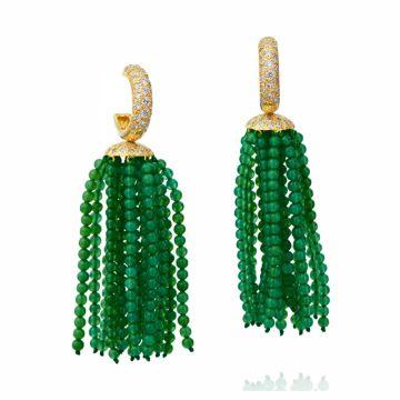 Gumuchian 18k Yellow Gold Green Onyx & Diamond Tassel Earrings