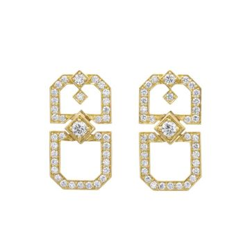 Gumuchian Secret Garden Deco Motif 18k Gold Drop Earrings