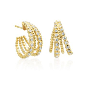 Gumuchian Nutmeg 18k Gold Four Row Diamond Hoop Earrings