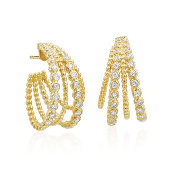 Gumuchian Nutmeg 18k Gold Four Row Diamond Hoop Earrings
