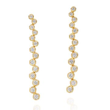 Gumuchian Moonlight 18k Gold Stiletto Zig Zag Diamond Earring
