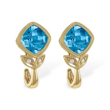 Allison Kaufman 14k Yellow Gold Gemstone & Diamond Stud Earrings