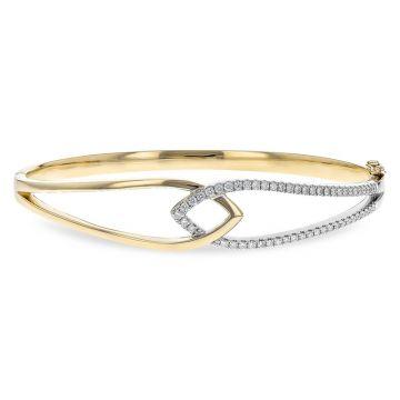 Allison Kaufman Two Tone 14k Gold Diamond Bangle Bracelet
