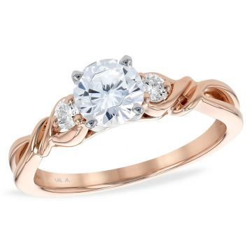 Allison Kaufman 14k Rose Gold Diamond 3 Stone Semi-Mount Engagement Ring